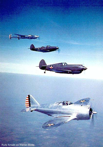 YP-43, P-40, P-39C and YP-38