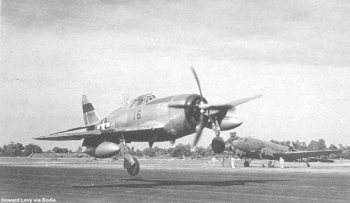 1st Air Commando Group P-47D makes a wild landing