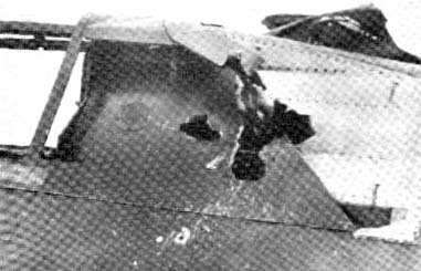 20 mm damage to Johnson's canopy