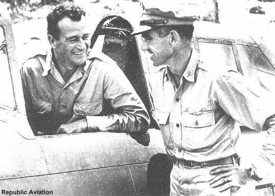 Actor John Wayne and Ace Neel Kearby