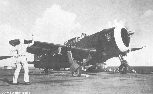 A 318th FG P-47 gets ready for a catapult launch