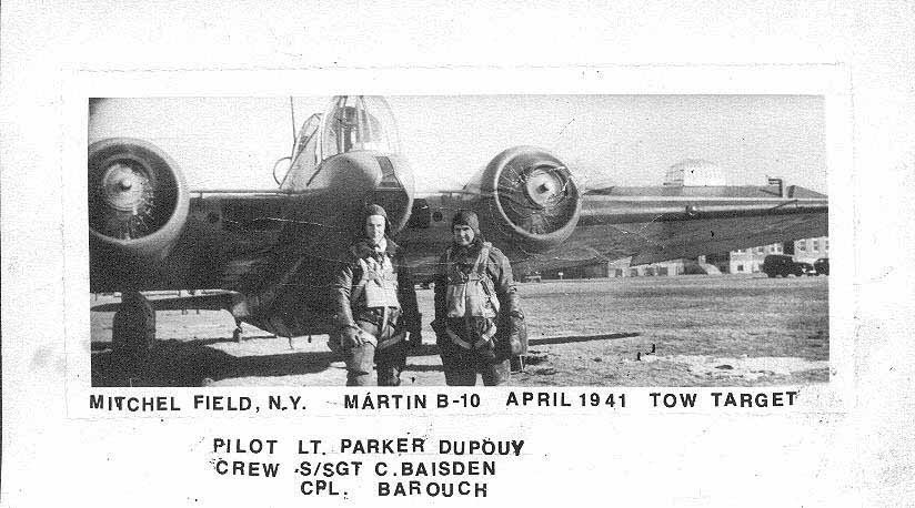 Chuck with B-10, Mitchell Field, early 1941